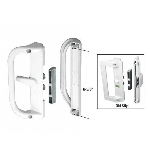 (White Surface Mounted Hook Style Sliding Glass Door Handle 6-5/8 in Screw Holes)