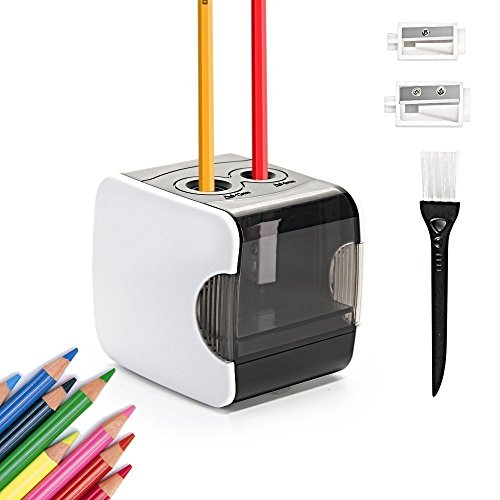 Electric Pencil Sharpener, HOMMINI 2 Hole/ 6-8mm & 9-12mm/ Rechargeable/Automatic Pencil Sharpener with USB & Battery for Kids,Artist,Student,Professionals-White(Batteries not included)