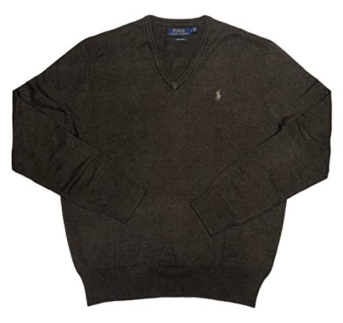Ralph Lauren Polo Mens Pima Cotton V-Neck Sweater Brown, M