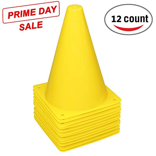 Fragraim 7.5-Inch Plastic Training Traffic Cones | Mini Agility Marker Cone for Kids | Safety Cones for Motorcycle, Themed Party, Skating, Soccer Basketball Football Drills - (Set of 12, Yellow) ()