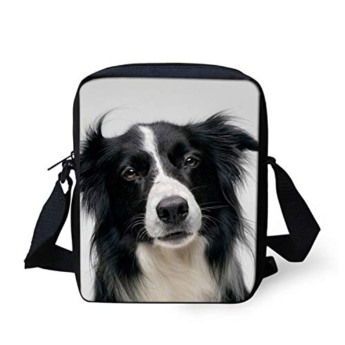 3D Dog Border Collie Print Women Men Messenger Bags Crossbody Bag Bookbags,H9389E,23x17x6CM ()