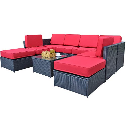 Mcombo Patio Furniture Sectional Wicker Sofa Set All-Weather Outdoor Black Rattan Conversation Chair Set with Thick Cushions(5.12Inch) and Tea Table Black 6085-1009RD
