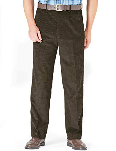 - Mens Corduroy Cotton Trouser Pants with Hidden Extra Waistband Olive 46W x 31L