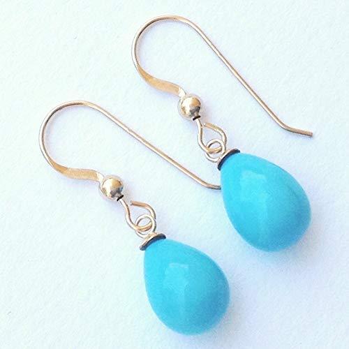 14K Gold Filled Dangle Tear Drop Turquoise Earrings