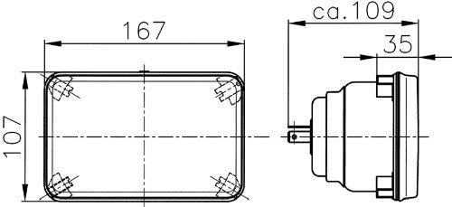 HELLA 003177001 164x103mm H4 Single High//Low Beam Halogen Conversion Headlamp