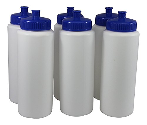 Sports Squeeze Plastic Water Bottles Push/Pull Cap Wide Mouth 32 Ounce pack of 6