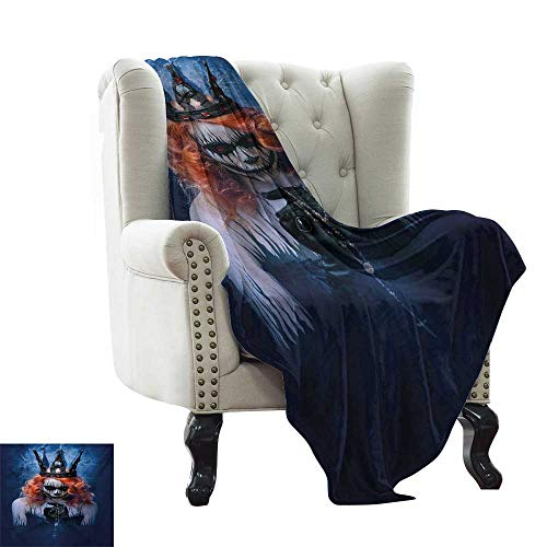 LsWOW Throw Blanket Queen,Queen of Death Scary Body Art Halloween Evil Face Bizarre Make Up Zombie,Navy Blue Orange Black Warm Blanket for Autumn Winter 60