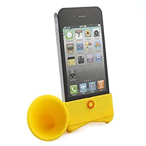 NEW Loudspeaker Horn Stand Holder for iphone 4(yellow)