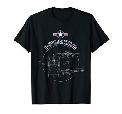 P-38 Lightning USAF Warbird Plane WW2 Airshow T-Shirt