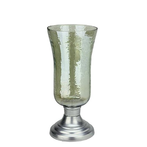 Northlight 15.5'' Decorative Golden Luster Hurricane Pillar Candle Holder with Silver Base by Northlight