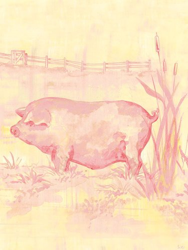 Oopsy Daisy Canvas Wall Art Toile Piggy, Pink by Heather Gentile Collins, 18 by 24-Inch