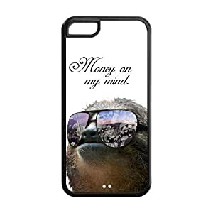 Funny Hipster Sloth Protective Rubber Back Fits Cover Case for iPhone 5C
