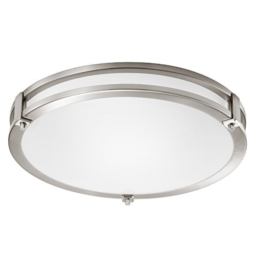 GetInLight LED Flush Mount Ceiling Light, 18-Inch, 30W(150W Equivalent), Brushed Nickel Finish, 4000K(Bright White), Dimmable, Round, Dry Location Rated, ETL Listed, IN-0307-4-SN-40
