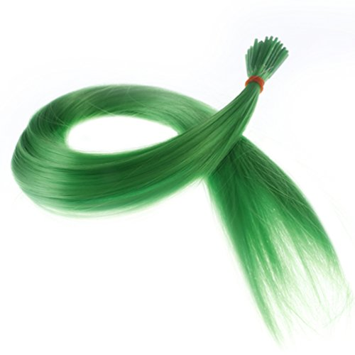 "Savena Straight I Tip Hair Extensions Colorful Synthetic 0.5g/Piece 50pcs/Pack Stick Tip Hair 18"" (Green) (Stick Extensions Hair)"