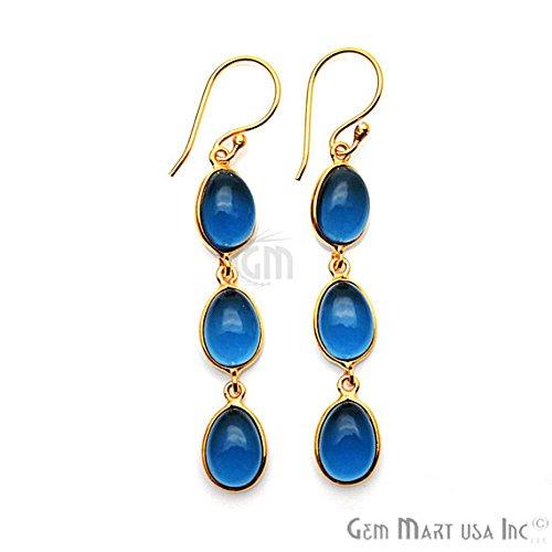Iolite Earrings, Iolite Cabochon Earrings, Gold Hook Earring, Cabochon Earring, Dangle Earrings, GemMartUSA (IOER-90238) (Iolite Ring Bezel)