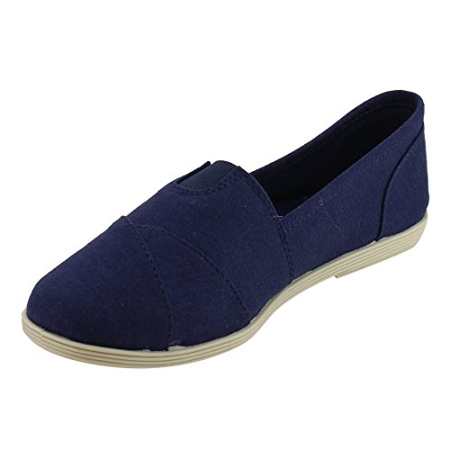 Navy RND with Toe Shoes Casual Linen Women's Flat Insole Padded Soda Obji xn1aqRwv1T