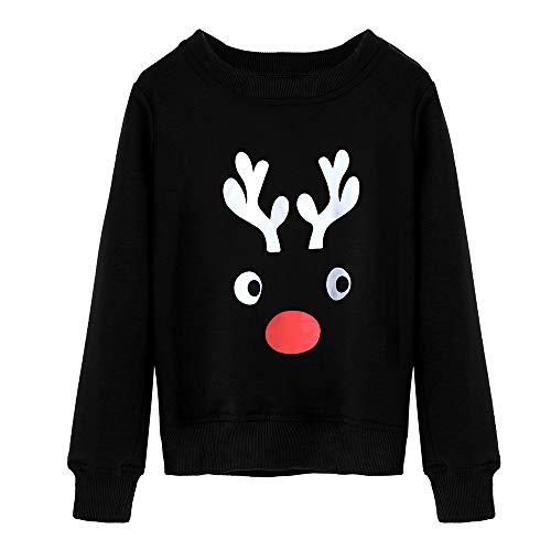 Seaintheson Matching Family Christmas Pajamas Tops, Xmas Reindeer Print Long Sleeve Shirt Family Homewear Nightwear Sleepwear