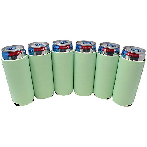 TahoeBay 6 Slim Can Sleeves - Blank Neoprene Beer Coolers - Compatible with 12oz RedBull, Michelob Ultra, Spiked Seltzer (Mint, 6) ()