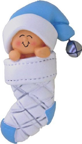 Baby's First Xmas Blue Boy in Stocking Xmas Tree Ornament
