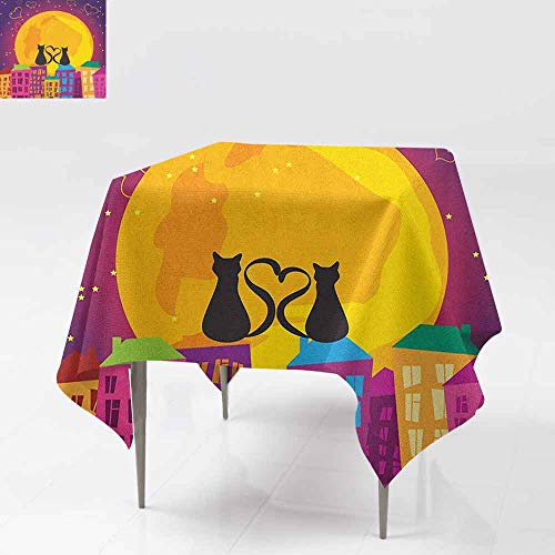 AndyTours Washable Tablecloth,Animal,Cats on The Roof with Heart Shaped Tales Watching The Moonlight at Night in Town,Table Cover for Dining,70x70 Inch Purple Orange