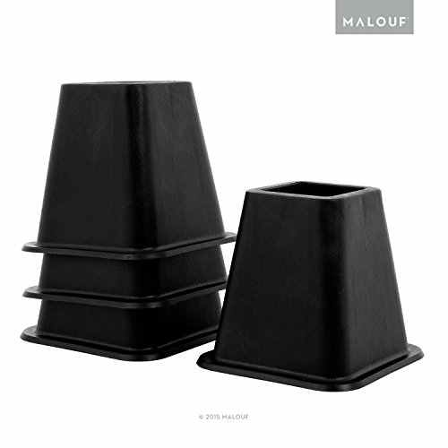STRUCTURES 6 Inch Heavy-Duty Bed Risers - Set of 4 - Black (Riser Kitchen)
