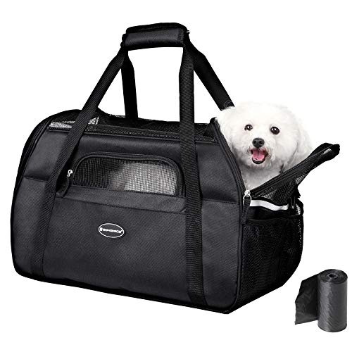 SONGMICS Foldable Portable Pet Carrier, 18.9″ Airline Approved Soft-Sided Travel Bag, Perfect for Small Cats Dogs Puppy Kitten, Made of Quality Polyester and Tear-Resistant Mesh, UPDC51BK Black