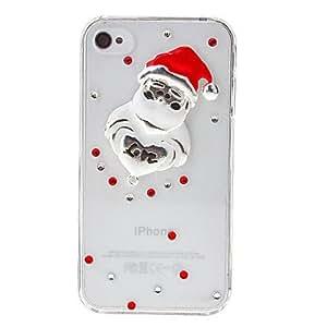 Santa Claus Heart Alloy Ornament Transparent Back Case for iPhone 4/4S