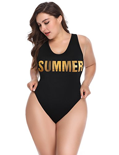 ALONG FIT Women's Plus Size Swimwear with High Cut and Low Back One Piece Bathing Suit for Women 5XL by ALONG FIT