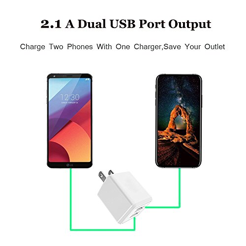 USB Wall Charger, 2-Pack 2.1A/5V Dual Port USB Plug Power Adapter Charging Cube Compatible iPhone X 8/7/6 Plus SE/5S/4S,iPad, iPod, Samsung, Android Phone -White by UltraSealers (Image #1)