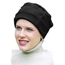 100% Cotton Cozy Cap for Women - Cancer Hat, Chemo, Hair Loss Beanie Black