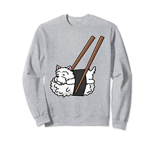 (Unisex Westie Sushi Sweatshirt Funny Dog Gift Small Heather Grey)