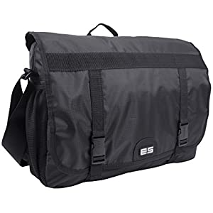 Eastsport Double Buckle Laptop Messenger, Black