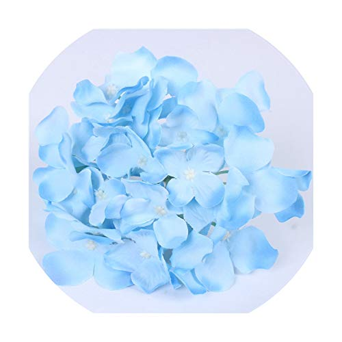 Party Kiwi Kit Deluxe - 11Pcs/Lot Amazing Colorful Decorative Flower for Wedding Party Luxury Artificial Hydrangea Silk DIY Flower Decoration for Home,Blue