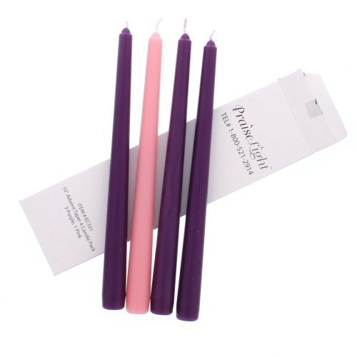 (Four Piece Purple Pink Christmas Season 10-inch Wax Taper Advent Candles)