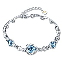 Bracelet, Fairy Season Women Fashion Bangle Jewelry Made with Blue Heart Crystals from Swarovski for Women