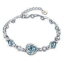 Bracelet, Fairy Season Women Fashion Bangle Jewelry Made with Blue Heart Crystals from Swarovski for Women