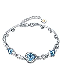 Bracelet, Fairy Season Tennis Bracelet Made with Blue Crystals from Swarovski Heart Bangle Jewelry Gifts for Women
