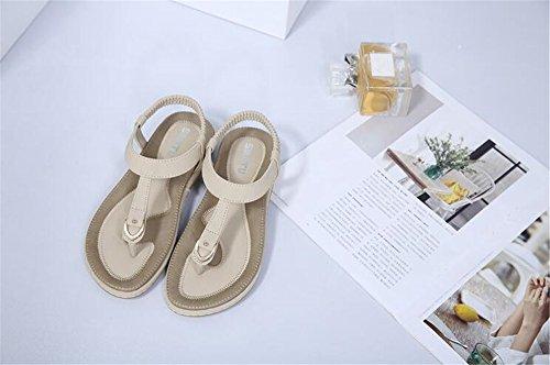 Beige Sandals Elastic Casual Flats Handmade Summer Wear Shoes Toe Bohemian Women Clip Beach SWq717Ogw