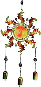 15 Inch Yellow and Red Rigid Glass Sun Face Hanger with Three Bells