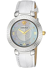 Women's 'Daphnis' Swiss Quartz Stainless Steel and Leather Casual Watch, Color:White (Model: V16010017)