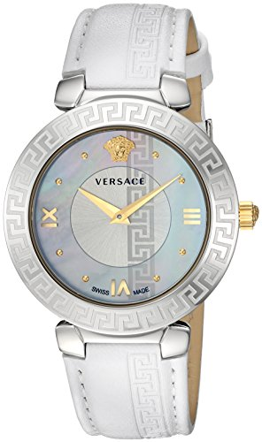 Versace Women's 'Daphnis' Swiss Quartz Stainless Steel and Leather Casual Watch, Color White (Model: V16010017)