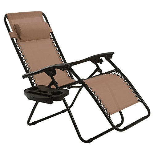 Bon Goplus Folding Zero Gravity Reclining Lounge Chairs Outdoor Beach Patio  W/Utility Tray (Brown)