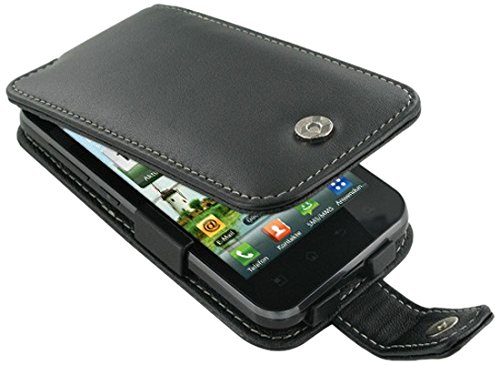 P970 Case Cover - PDair Black Leather Flip Cover Carry Case + belt clip for LG Optimus Black P970