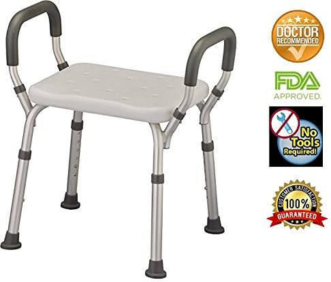 Amazon.com: Banco de ducha con brazos, silla de ducha ...
