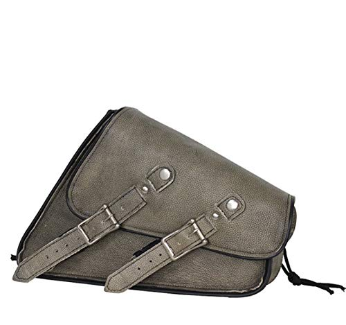 (Distressed Brown Left Side Leather Swing Arm Motorcycle Tie Down Bag)