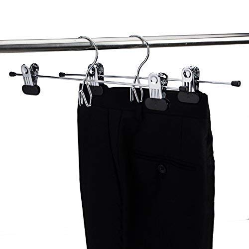 Paquete de 12 cromadas Amber Home Percha para Faldas de Metal apilable con Pinzas Ajustables Antideslizantes extrafuertes