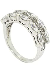Classic Wedding Band/Engagement Ring w/Princess & Marquise White CZs, .925 Sterling Silver