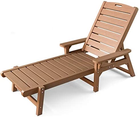 OT QOMOTOP Chaise Lounge Outdoor, 5 Adjustable Lounge Chair, Reclining All Weather Poly Lumber Chairs for Pool, Porch, Patio
