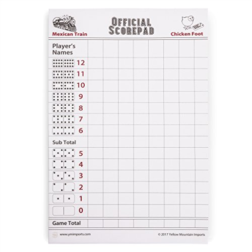 Yellow Mountain Imports 180 Sheet Scorepad for Mexican Train and Chicken Foot (Chickenfoot Game Accessory)