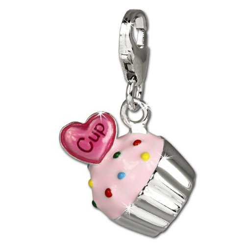 - SilberDream Charm pink enameled cupcake 925 Sterling Silver Pendant Lobster Clasp FC679